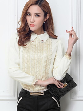 Stylish Lace Patchwork Slim Blouse