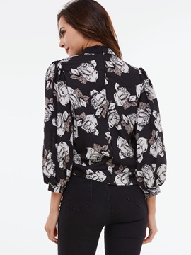 Stylish Floral Printed Stand Collar Blouse