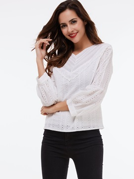Stylish Lantern Sleeve V-Neck Blouse