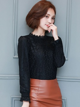 Stylish Geometric Lace Slim Blouse