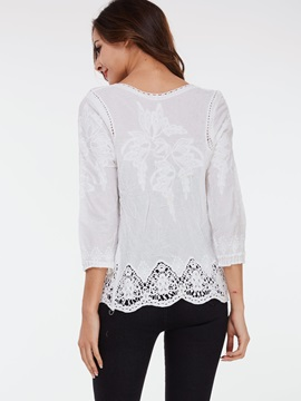 Stylish Lace Floral Loose Blouse