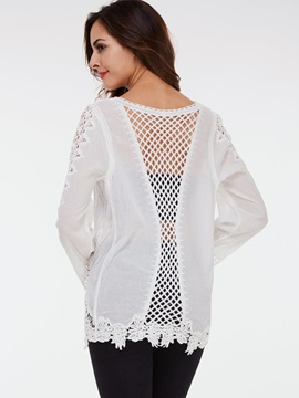 Stylish Back Hollow Slim Blouse