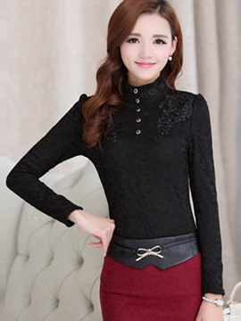 Stylish Lace Stand Collar Standard Blouse