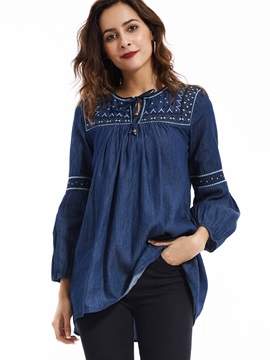 Stylish Lantern Sleeve Plain Blouse