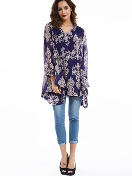 Stylish Pullover Flower Printed Blouse