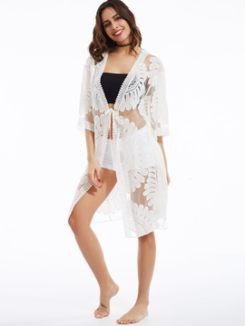 Stylish Cardigan Lace-Up See-Through Blouse