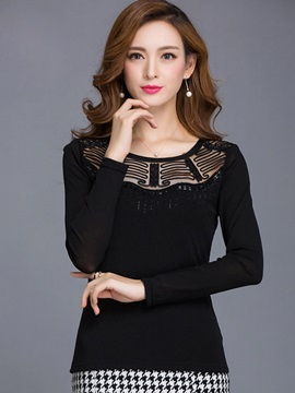 Stylish Mesh Round Neck Blouse
