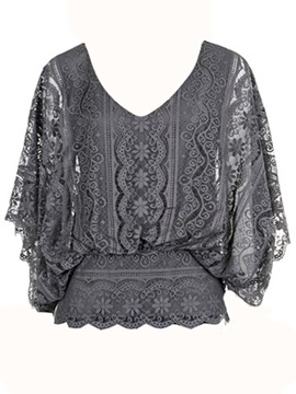 Stylish Floral Lace Batwing Blouse