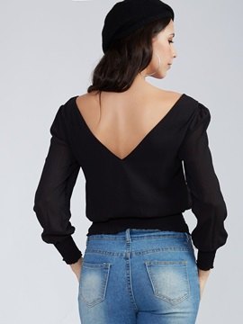 Stylish Slim Pullover Round Neck Blouse