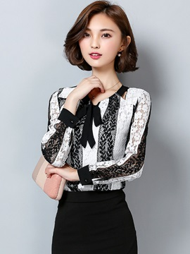 Stylish Lace Floral Bowknot Blouse