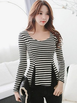 Stylish Zebra Stripe Slim Blouse
