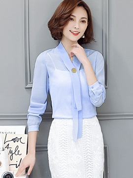 Stylish Pure Color V-Neck Chiffon Blouse