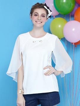 Stylish Plain Three-Quarter Sleeve Blouse