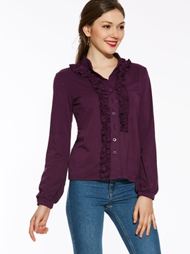 Chic Frill Slim Plain Blouse
