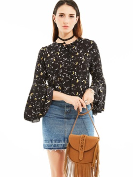 Stylish Floral Flare SleevesBlouse