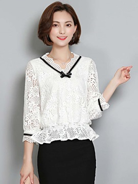 Slim Lace Half Sleeve Blouse