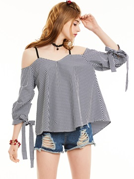 Slash Neck Lace-Up Plaid Blouse