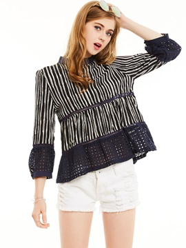 Stand Collar Stripe Hollow Falbala Patchwork Blouse