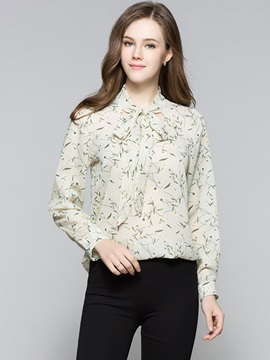 Stylish Floral Lace-Up Blouse
