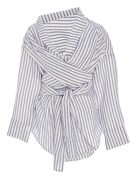 Slim V-Neck Stripe Lace-Up Blouse