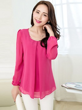 Plain Chiffon Round Neck Lantern Sleeve Blouse