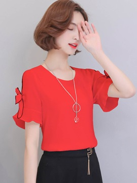 Plain Chiffon Bowknot Short Sleeve Blouse