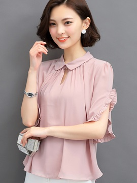 Plain Chiffon Falbala Peter Pan Collar Blouse