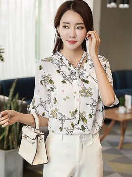 Chiffon Floral Lace Up Short Sleeve Shirt