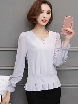 Plain Chiffon Slim Ruffle Sleeve Blouse