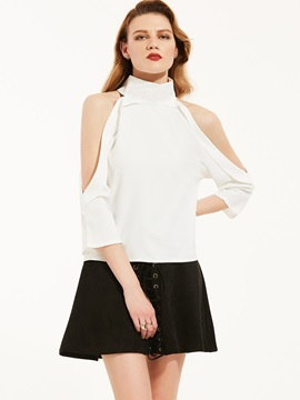 Turtleneck Plain Cold Shoulder Blouse