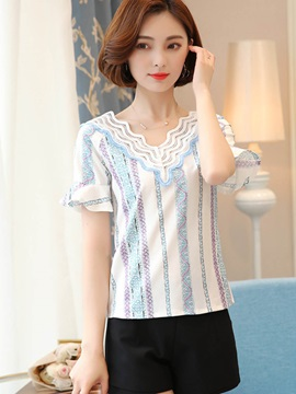 Stylish Stripe Lace Petal Sleeve Blouse