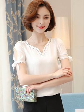 Plain Chiffon V-Neck Blouse