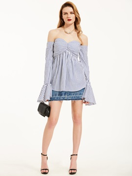 Stripe Off Shoulder Flare Sleeve Blouse