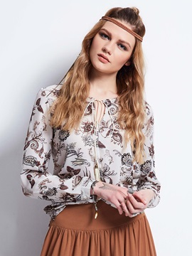 Round Neck Flower Print Blouse