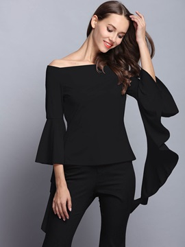 Slash Neck Plain Flare Sleeve Blouse