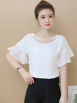 Plain Chiffon Round Neck Ruffle Sleeve Blouse