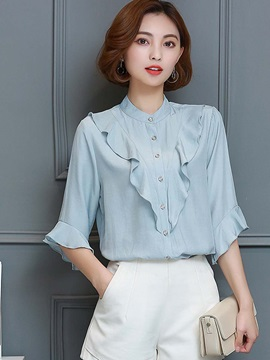Slim Stand Collar Falbala Blouse