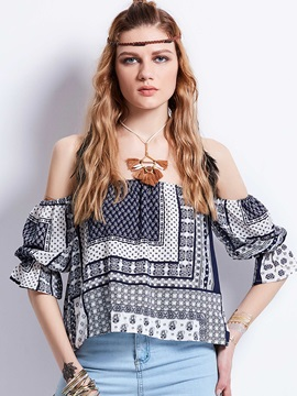 Geometric Pattern Slash Neck Flare Sleeves Blouse