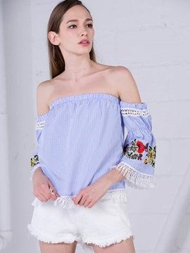Slash Neck Embroidery Tassel Blouse