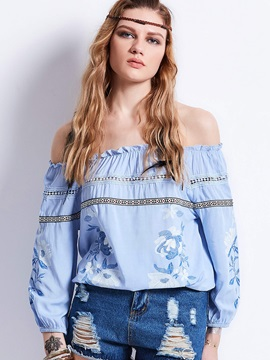 Slash Neck Embroidery Lantern Sleeve Blouse