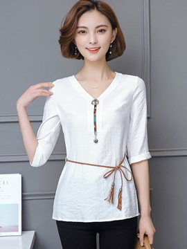 Plain Slim V-Neck Mid-Length Blouse