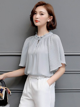 Chiffon Ruffled Collar Batwing Sleeve Blouse