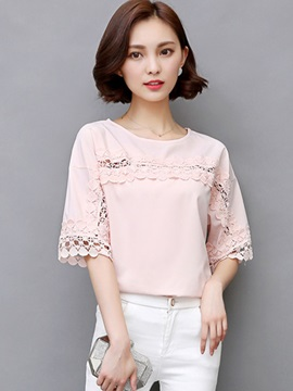 Loose Round Neck Lace Hollow Blouse