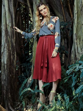 V-Neck Flower Print Blouse