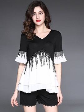 Loose V-Neck Falbala Tassel Blouse