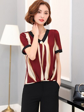 V-Neck Chiffon Stripe Blouse
