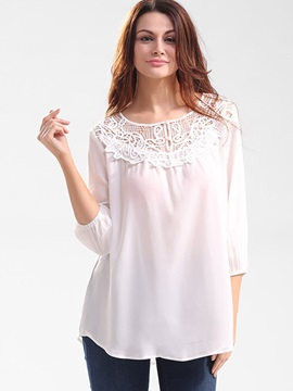 Loose Chiffon Lace Patchwork Blouse