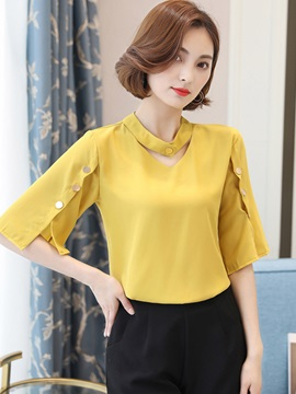Ladylike Slim V-Neck Button Blouse