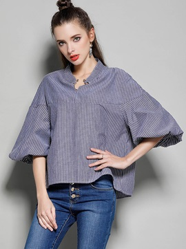 Stand Collar Stripe Puff Sleeve Blouse