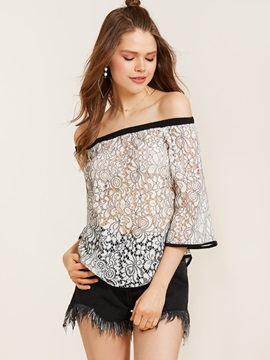 Slash Neck Three-Quarter Sleeve Lace Blouse